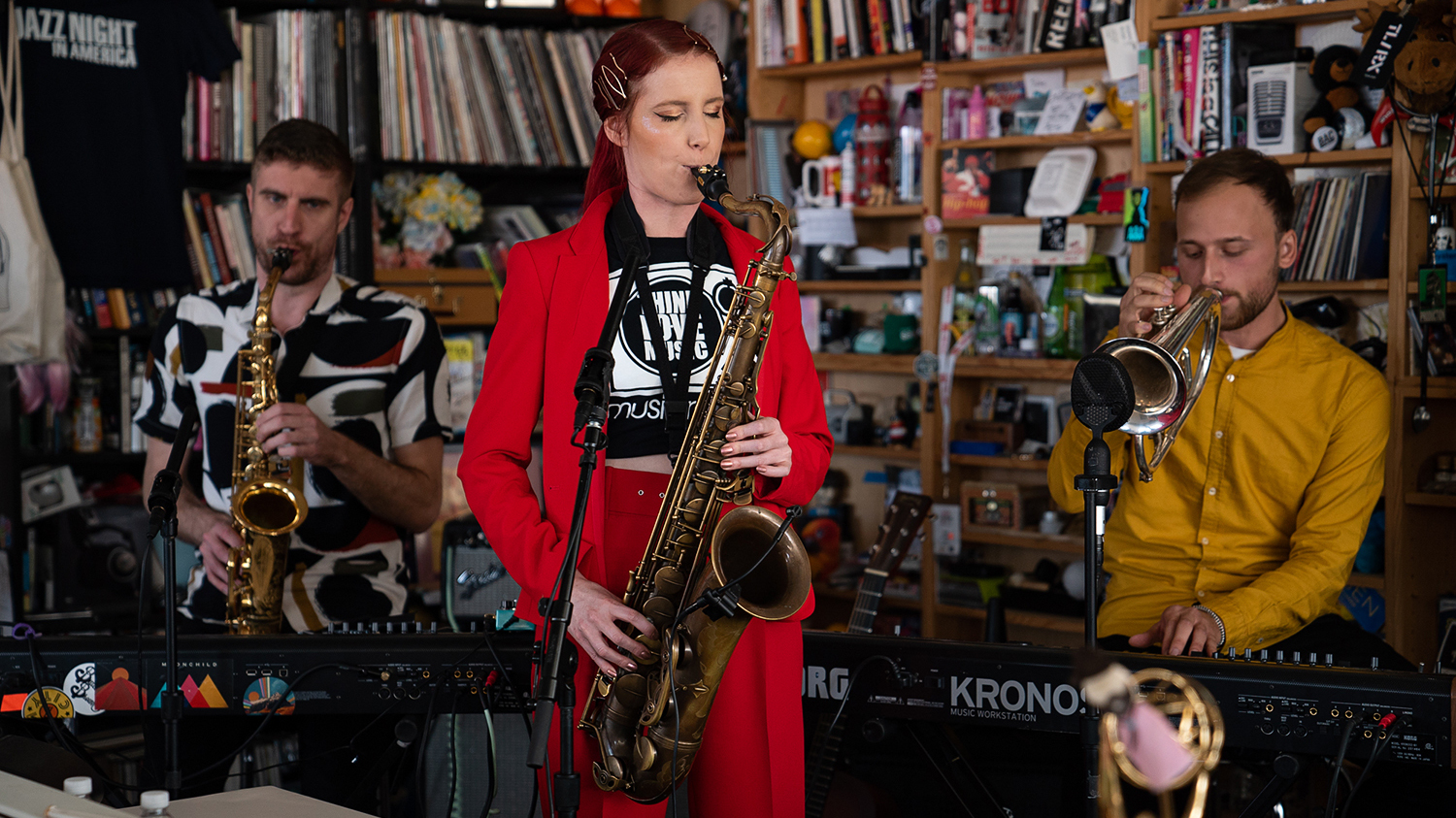 Moonchild performs during a Tiny Desk concert, on Oct. 17, 2019. (Catie Dull/NPR)