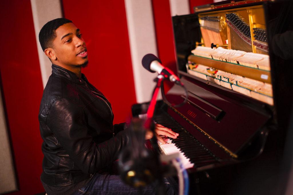 Christian Sands in the KNKX Seattle, Washington Studios.