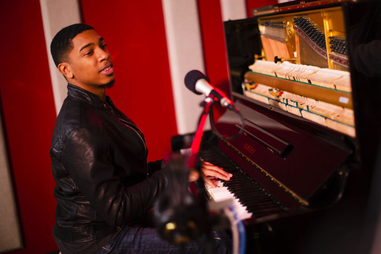 Christian Sands in the KNKX Seattle, Washington Studios.
